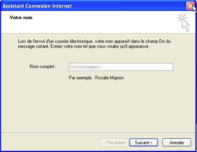 MS Outlook Express 6 : Nom de l'utilisateur du compte mail