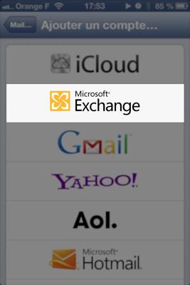 Choix compte Microsoft Exchange sur iOS