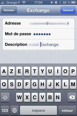 Réglage Exchange sur iOS : adresse et mot de passe