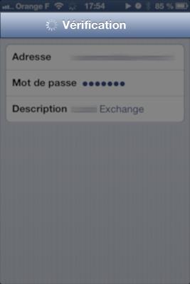 Vérification du compte Exchange sur iPhone