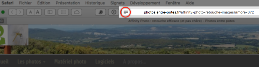 Activation du mode lecteur dans Safari (macOS)