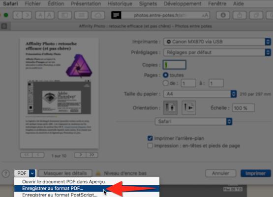 Enregistrer au format PDF