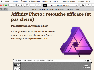 Article Affinity Photo en mode lecture dans Safari macOS