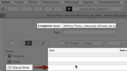 Enregistrement PDF sur iCloud Drive