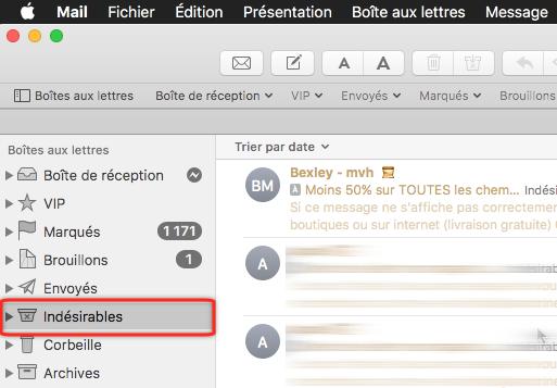 Dossier des SPAM de Apple Mail sur macOS X