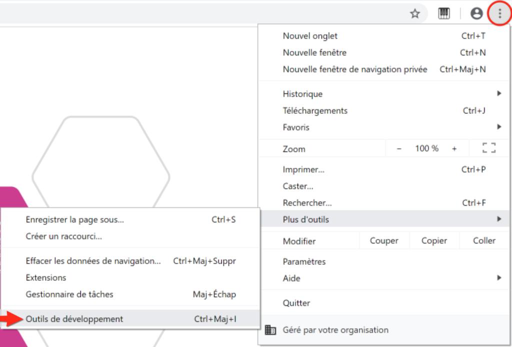 Outils de développement sur Chrome