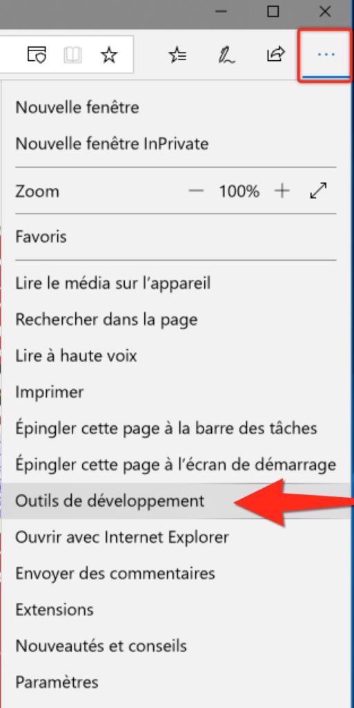 Outils développement sur Microsoft Edge