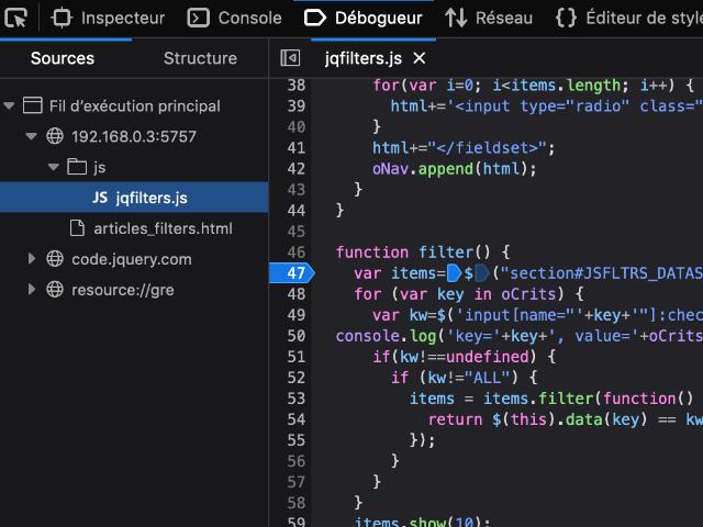 Outils développeur de Firefox : Débogueur