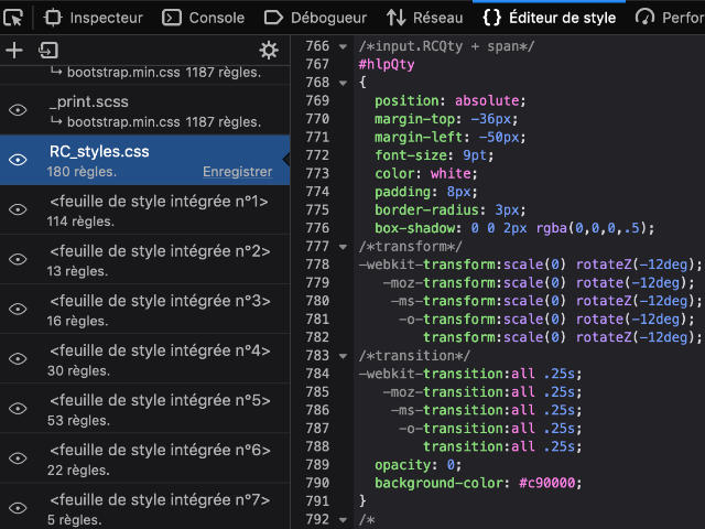 Outils développeur : Editeur de style