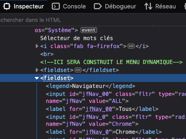 Outils développeur de Firefox : Inspecteur