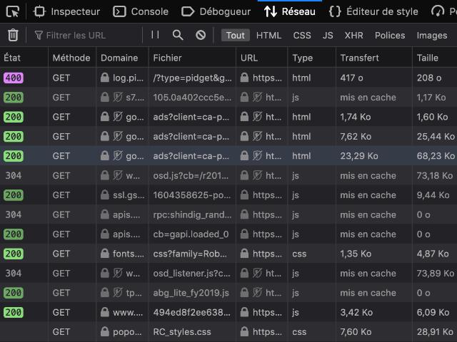 Outils de développement de Firefox : Réseau