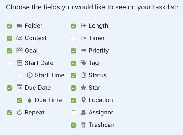 Choix des champs dans Toodledo (Buts, Contextes, Priorités, Tags)